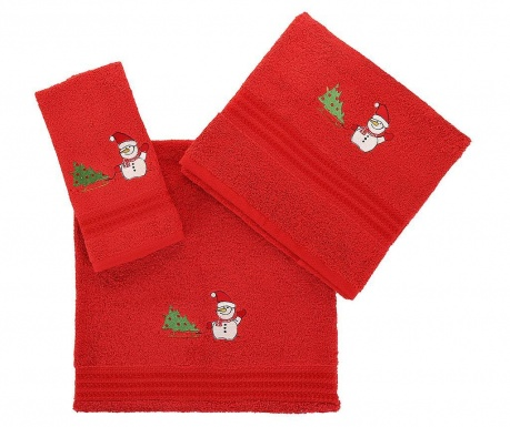 Set 3 prosoape de baie Tree and Snowman Red