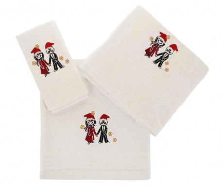 Zestaw 3 ręczników kąpielowych Christmas Couple White