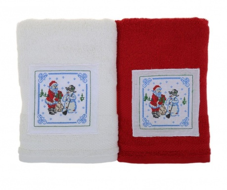 Set 2 prosoape de baie Santa and Snowman White and Red 50x100 cm