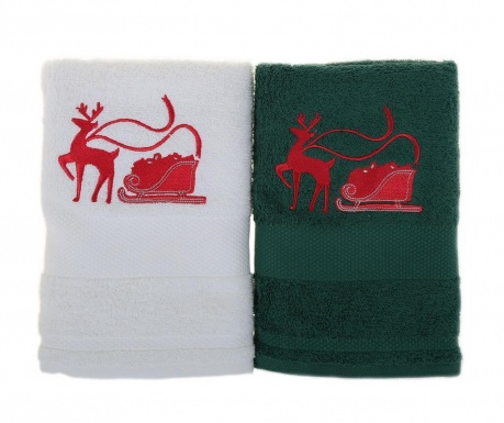 Set 2 kopalniških brisač Sled with Reindeer White and Green 50x100 cm