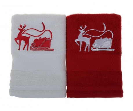Set 2 prosoape de baie Sled with Reindeer White and Red 50x100 cm