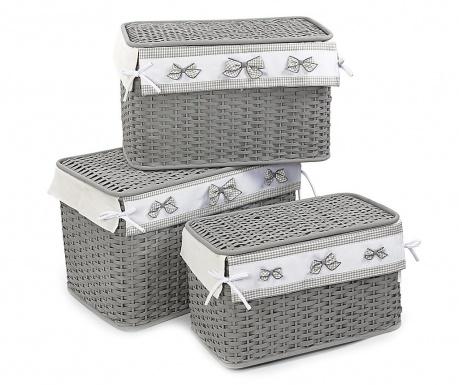 Set 3 košare s poklopcem Grey Bows
