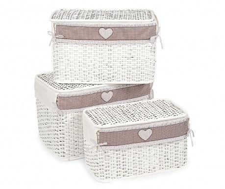 Set 3 košare s poklopcem Rustic Heart