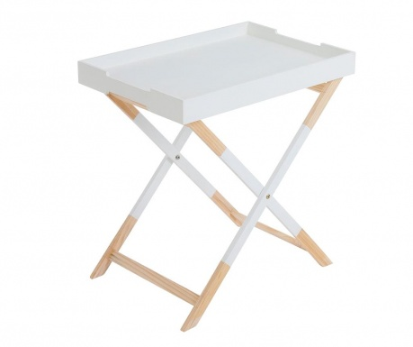 Сгъваема масичка с поднос Nordic Rectangular White
