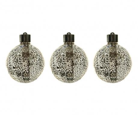 Set 3 svjetleće ukrasne kuglice Donell Silver