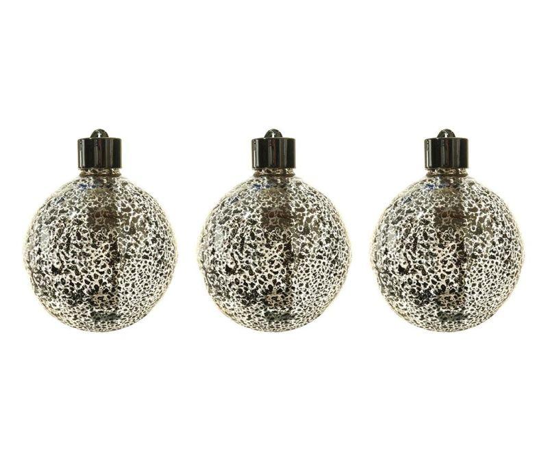 Set 3 globuri decorative luminoase Donell Silver