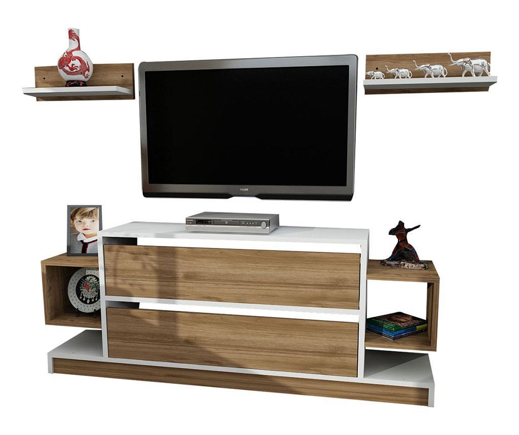 Set comoda TV si 2 polite Magic White and Walnut - Furny Home, Alb,Maro