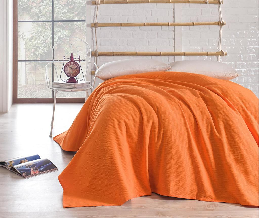 Cuvertura Pique Basic Orange 200x240 cm - Bella Carine by Esil Home, Portocaliu