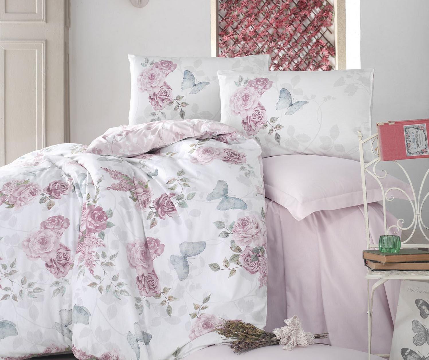 Lenjerie de pat King Ranforce Rosella Pink 200x220 - Cotton Box, Roz de la Cotton Box
