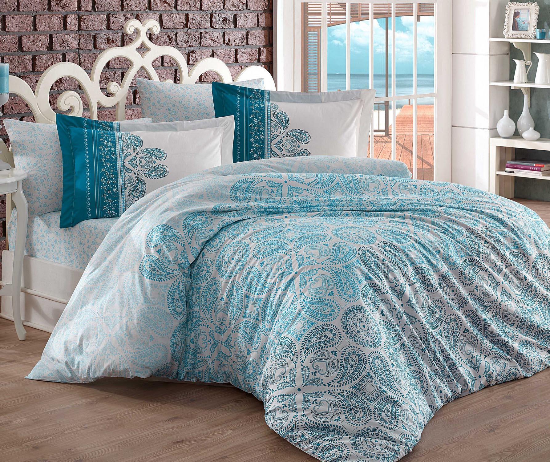 Lenjerie de pat King Poplin Irene Turquoise 200x220 - Hobby, Albastru de la Hobby