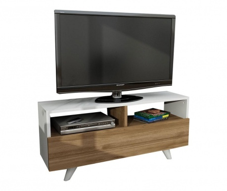 Novella White and Walnut TV Komód