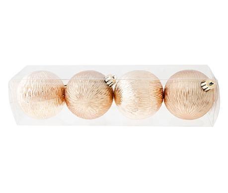Σετ 4 διακοσμητικές μπάλες Ribbed Champagne