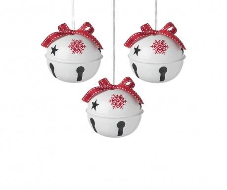 Set 3 ukrasne kuglice Red Snowflake