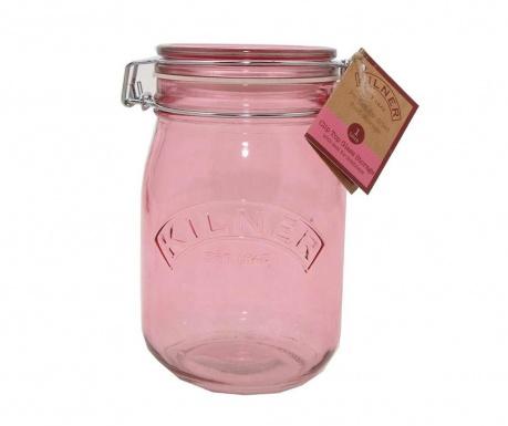 Буркан с капачка с херметическо затваряне Kilner Clip Round Pink 1 L