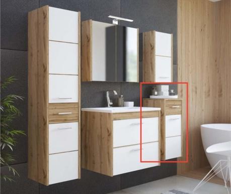 Ibiza Low White and Wood Fali szekrény