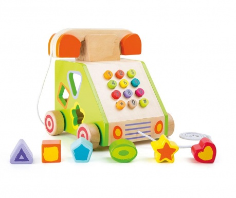Zabawka do ciągnięcia i sorter kształtów Telephone