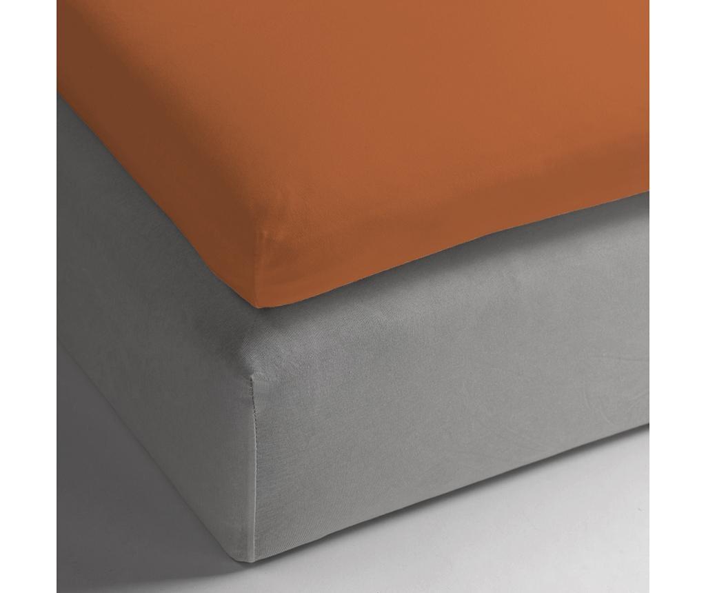 Plahta s  elastičnom gumicom za nadmadrac Percale Persey Terra 160x200 cm