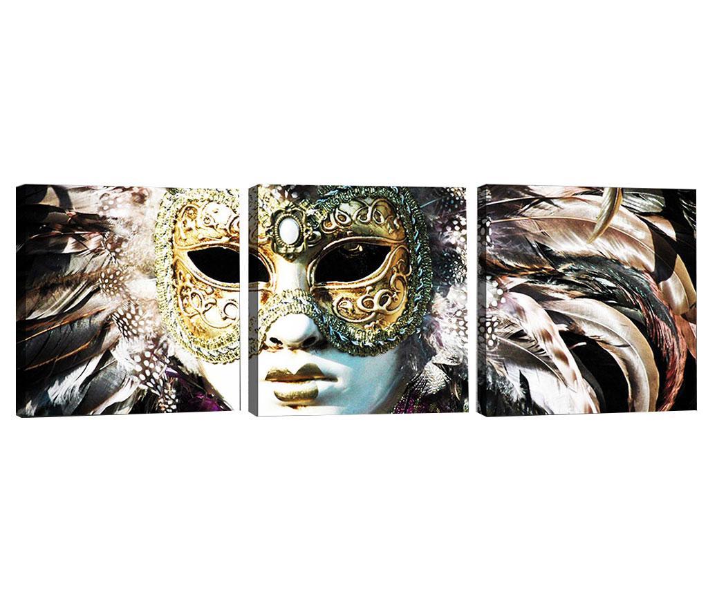 Set 3 tablouri Venice Tradition 30x30 cm - Tablo Center, Gri & Argintiu