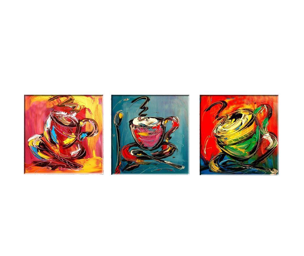 Set 3 tablouri Coffee Time 30x30 cm - Tablo Center, Multicolor