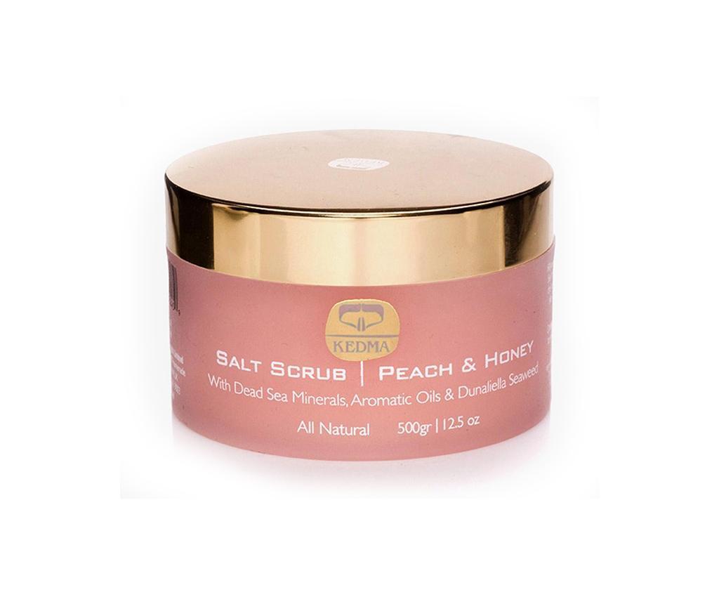 Crema exfolianta pentru corp cu sare de mare Kedma Peach & Honey 500 g - Kedma
