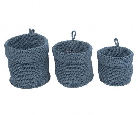 Set 3 košare Weave Jeans Blue