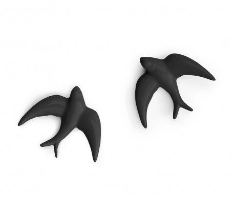 Sada 2 nástěnných dekorací Swallows Black