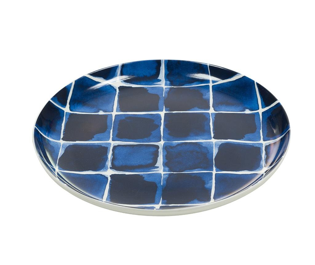 Squares Indigo White Desszertes tányér