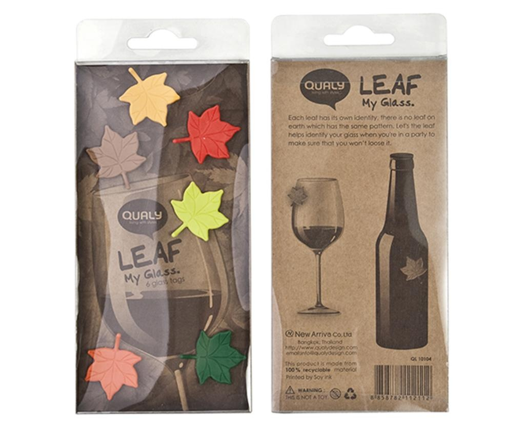 Sada 6 dekorací na sklenice Leaf