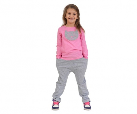 Set dječja bluza i hlače Cat With Pocket Baggy Pink