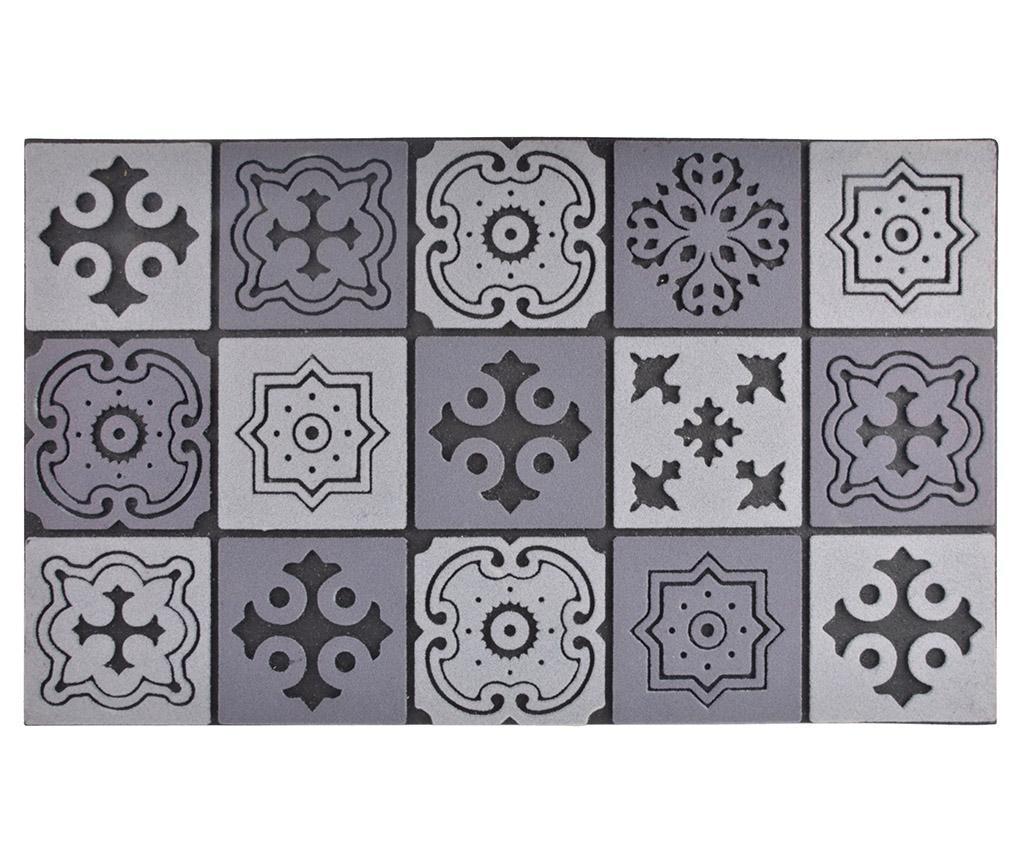 Covoras de intrare Mosaic 45x76 - Esschert Design, Gri & Argintiu