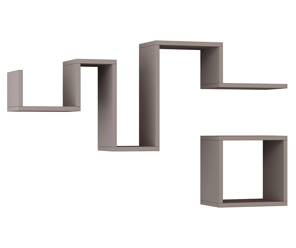 Set 2 rafturi de perete Follow Light Mocha - Homitis, Maro