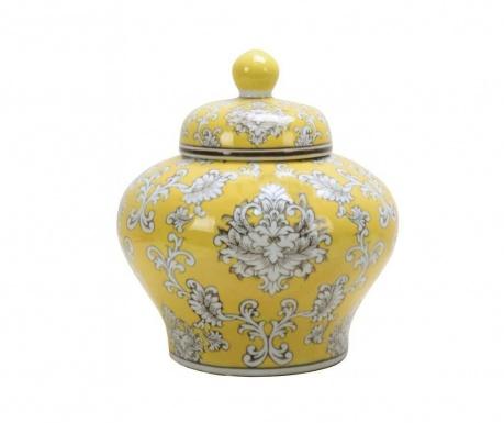 Dekorační nádoba s víkem Squat Yellow