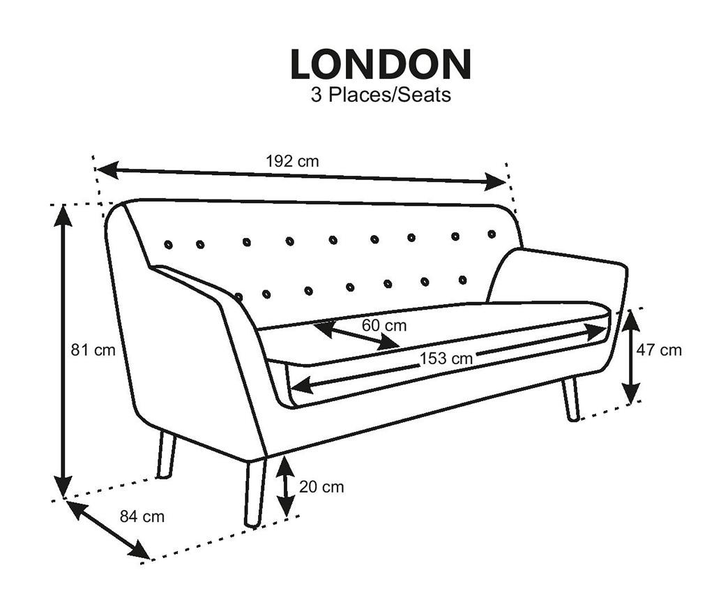 Canapea 3 locuri London Light Grey