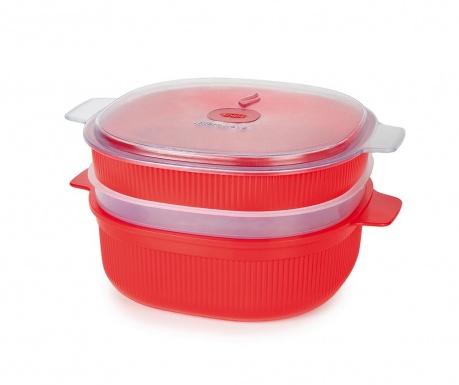 Caserola 3 niveluri pentru gatit cu aburi Airtight Red Big 4 L