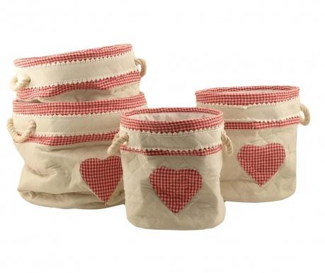 Set 4 košare Rosso Heart