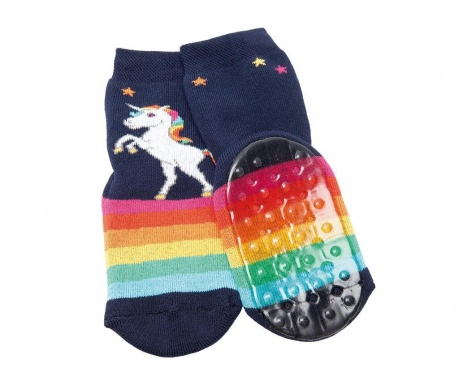 Чорапи с нехлъзгаща се подметка Unicorn Rainbow