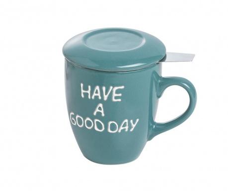 Have a Good Day Green Bögre fedővel és szűrővel 350 ml