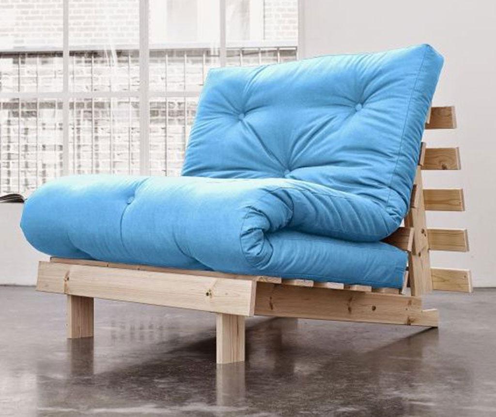 Sofa extensibila Roots Natural and Horizon Blue 90x200 cm
