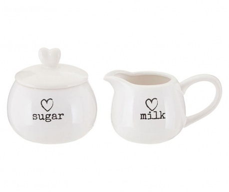 Zestaw mlecznik i cukierniczka z pokrywką Charm
