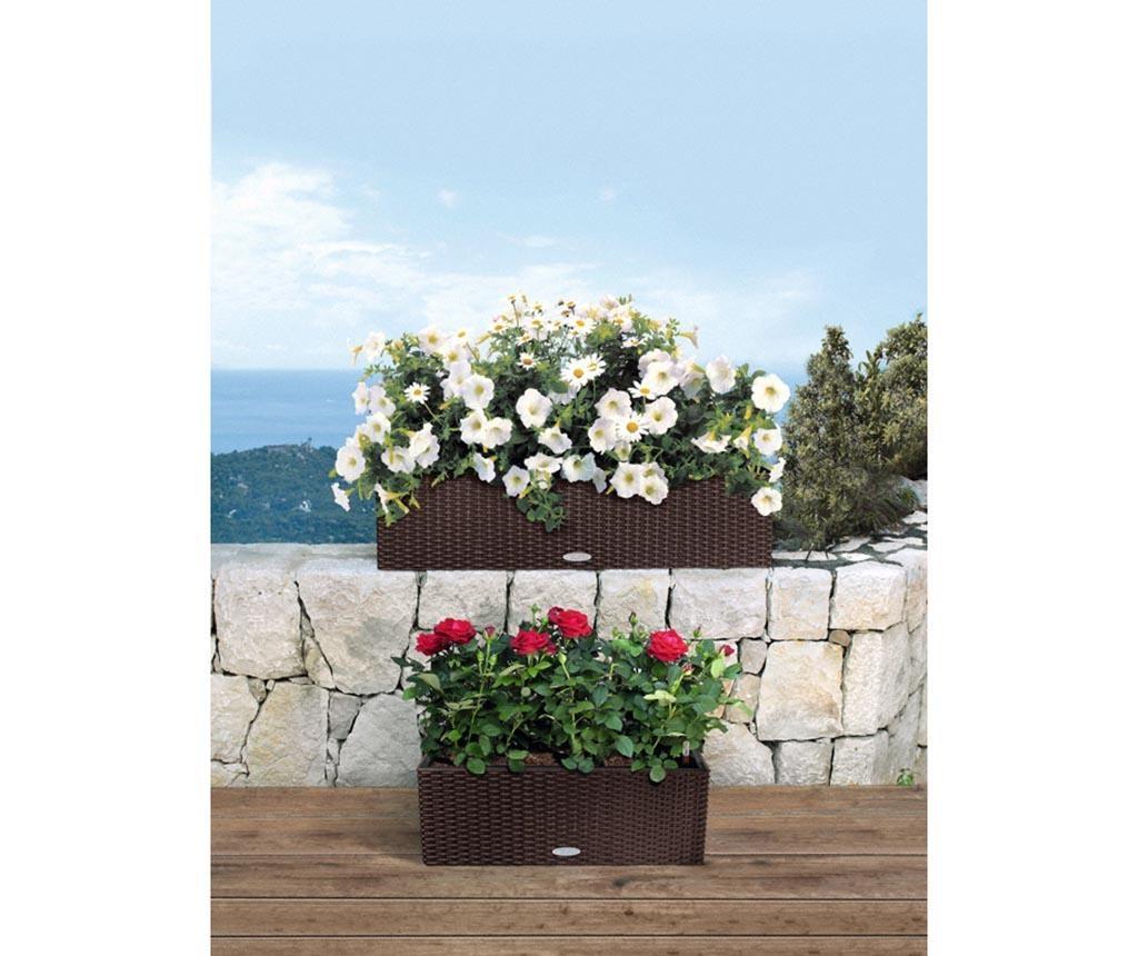 Set jardiniera cu sistem autoirigare si suport Balconera White