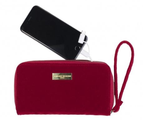 Peňaženka s externou batériou Adrienne Vittadini Embossed Red