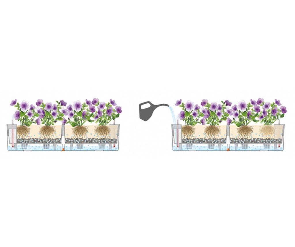 Set 2 jardiniere cu sisteme autoirigare si suport Balconera Two Soft Purple