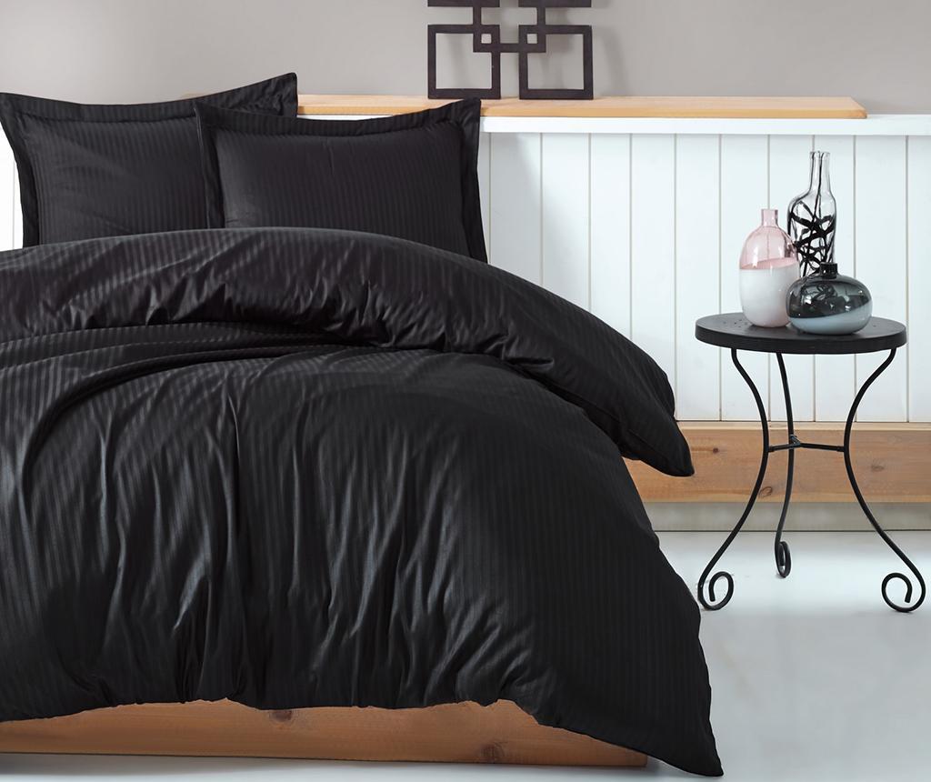Lenjerie De Pat King Satin Stripe Black - Cotton Box, Negru