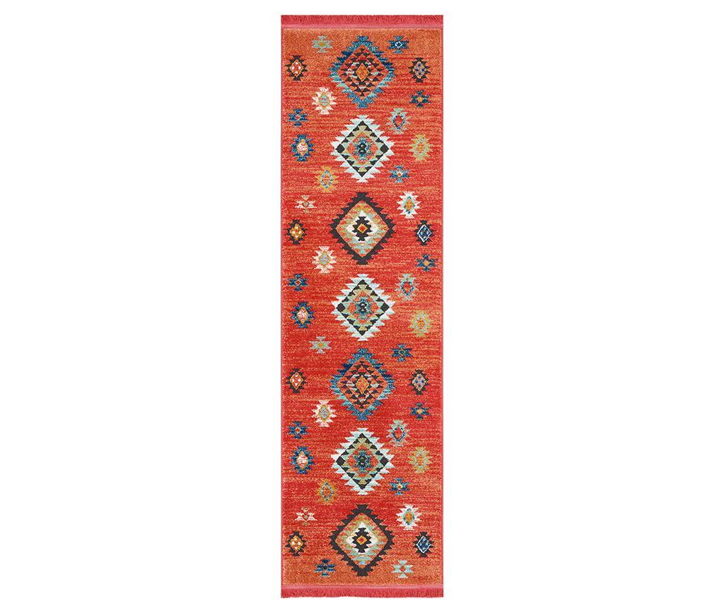 Covor Navajo Seven Red Runner 66x130 cm - Nourison, Rosu,Multicolor