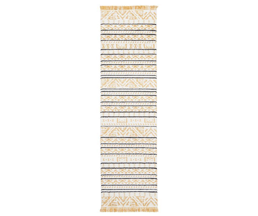 Covor Kamala Yellow Runner 66x229 cm - Nourison, Alb,Crem