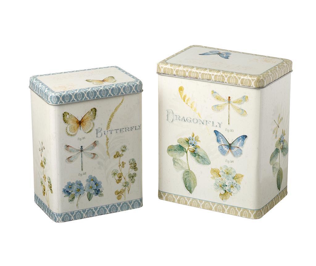 Set 2 cutii cu capac Blake Butterfly - Heaven Sends, Alb