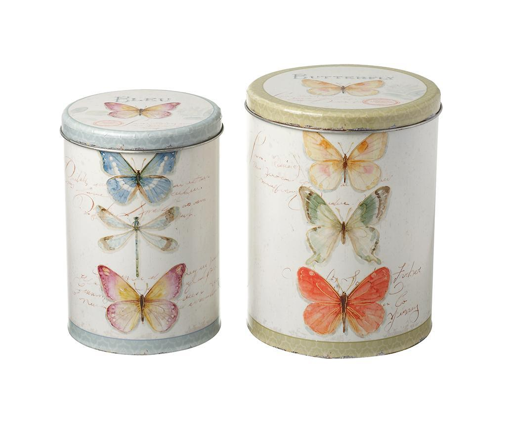 Set 2 cutii cu capac Butterfly - Heaven Sends, Multicolor