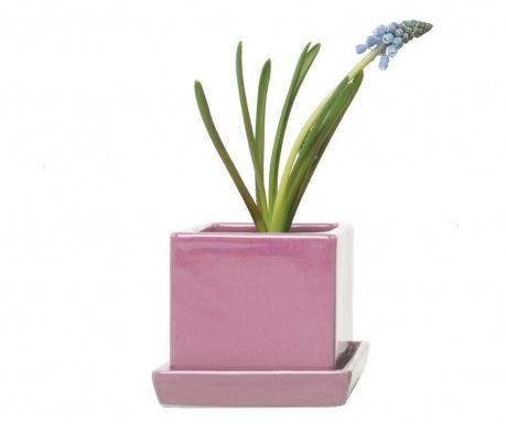 Ghiveci cu tavita Cubic Nature Pink