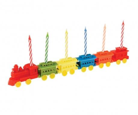 Set 6 lumanari pentru tort cu suporturi Party Train