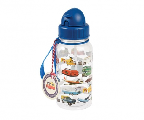 Detská fľaša so slamkou Vintage Transport 500 ml